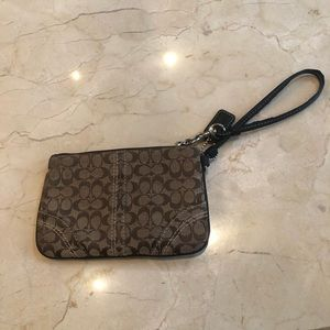 Coach Brown Logo Wristlet Well Loved